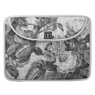 Capa MacBook Pro Vintage cinzento preto & branco Toile floral No.5