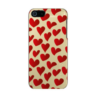 Capa Metálica Para iPhone SE/5/5s Amor vermelho pintado teste padrão do coração da