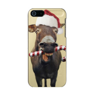 Capa Metálica Para iPhone SE/5/5s Asno do Natal - asno do papai noel - papai noel do