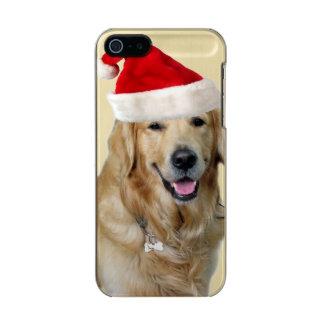Capa Metálica Para iPhone SE/5/5s Cão-animal de estimação do cão-papai noel de claus