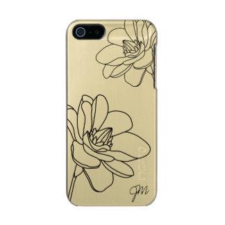 Capa Metálica Para iPhone SE/5/5s Caso floral chique do iPhone 5/5S do monograma -