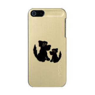 Capa Metálica Para iPhone SE/5/5s Família de cão preto