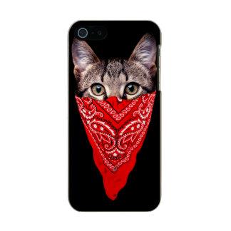 Capa Metálica Para iPhone SE/5/5s gato do gângster - gato do bandana - grupo do gato