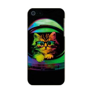 Capa Metálica Para iPhone SE/5/5s Gato do hipster - astronauta do gato - espace o