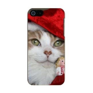 Capa Metálica Para iPhone SE/5/5s Gato do papai noel - gato do Natal - gatinhos