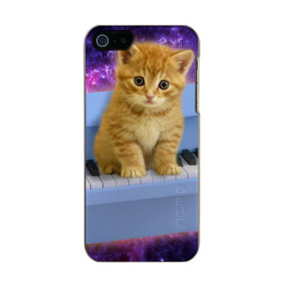 Capa Metálica Para iPhone SE/5/5s Gato do piano