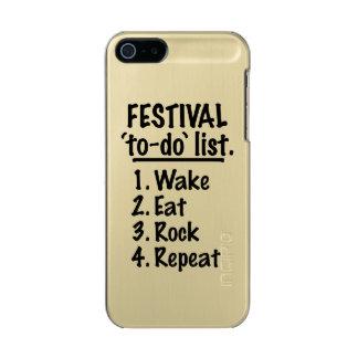 Capa Metálica Para iPhone SE/5/5s Lista do tumulto do ` do festival' (preto)