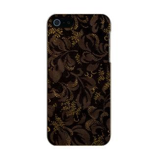Capa Metálica Para iPhone SE/5/5s Olhar do bordado de Brown