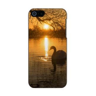 Capa Metálica Para iPhone SE/5/5s Por do sol com cisne