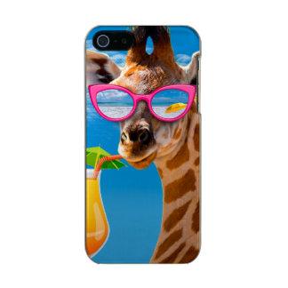 Capa Metálica Para iPhone SE/5/5s Praia do girafa - girafa engraçado