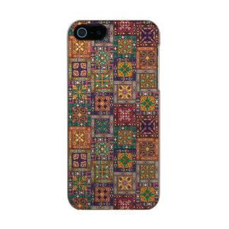Capa Metálica Para iPhone SE/5/5s Retalhos do vintage com elementos florais da