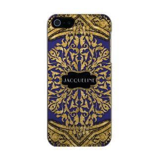 Capa Metálica Para iPhone SE/5/5s Rolo marroquino do redemoinho do brilho do ouro do