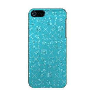 Capa Metálica Para iPhone SE/5/5s Teste padrão azul do crânio e dos ossos