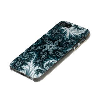 Capa Metálica Para iPhone SE/5/5s Teste padrão ciano e branco do fractal