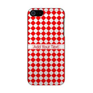 Capa Metálica Para iPhone SE/5/5s Teste padrão vermelho e branco do diamante por
