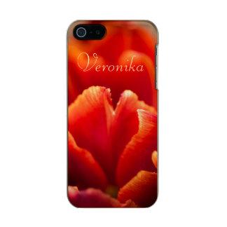 Capa Metálica Para iPhone SE/5/5s Tulipa vermelha