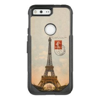 Capa OtterBox Commuter Para Google Pixel Cartão da torre Eiffel do vintage