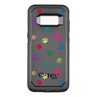 Capa OtterBox Commuter Para Samsung Galaxy S8 A pata pintada arco-íris imprime (a obscuridade)