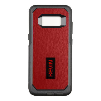 Capa OtterBox Commuter Para Samsung Galaxy S8 Acento de couro vermelho legal & monograma do