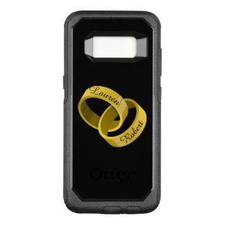 Capa OtterBox Commuter Para Samsung Galaxy S8 Alianças de casamento de bloqueio - nomes feitos
