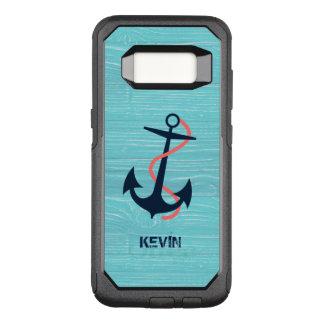 Capa OtterBox Commuter Para Samsung Galaxy S8 Âncora azul escuro do barco & textura de madeira