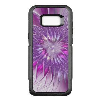 Capa OtterBox Commuter Para Samsung Galaxy S8+ Arte roxa cor-de-rosa do Fractal do abstrato da