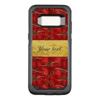 Capa OtterBox Commuter Para Samsung Galaxy S8 Azevinho festivo elegante na folha do vermelho do
