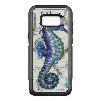 Capa OtterBox Commuter Para Samsung Galaxy S8+ Azul do vintage do mapa do cavalo marinho