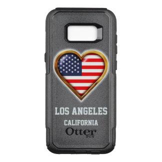 Capa OtterBox Commuter Para Samsung Galaxy S8+ Bandeira americana dada forma coração