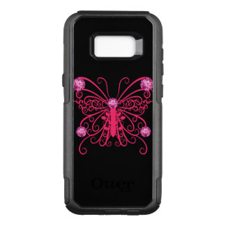 Capa OtterBox Commuter Para Samsung Galaxy S8+ Borboleta feminino cor-de-rosa Bling