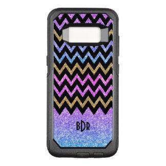 Capa OtterBox Commuter Para Samsung Galaxy S8 Brilho colorido moderno & Chevron preto