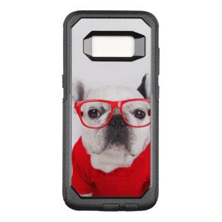 Capa OtterBox Commuter Para Samsung Galaxy S8 Buldogue francês com vidros e a camisa vermelha