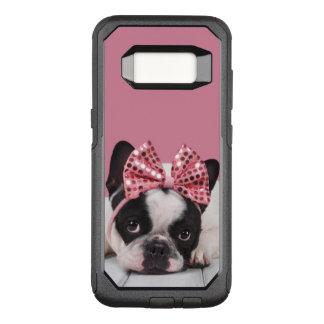 Capa OtterBox Commuter Para Samsung Galaxy S8 Buldogue francês que veste o rosa