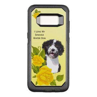 Capa OtterBox Commuter Para Samsung Galaxy S8 Cão de água espanhol e rosas amarelos