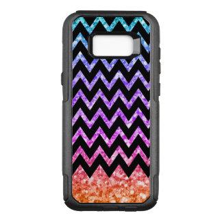 Capa OtterBox Commuter Para Samsung Galaxy S8+ Chevron preto & brilho colorido de Gredient