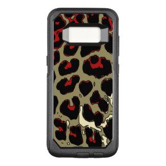 Capa OtterBox Commuter Para Samsung Galaxy S8 Chita preta vermelha lustrosa