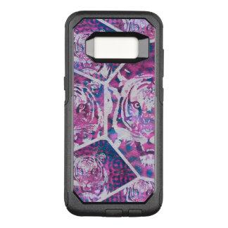 Capa OtterBox Commuter Para Samsung Galaxy S8 Colagem azul cor-de-rosa do tigre