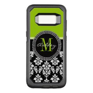 Capa OtterBox Commuter Para Samsung Galaxy S8 Cor damasco preta do verde limão Monogrammed