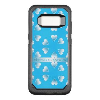 Capa OtterBox Commuter Para Samsung Galaxy S8 Corações azuis pequenos bonito. Adicione seu
