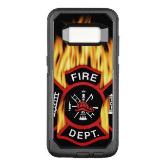 Capa OtterBox Commuter Para Samsung Galaxy S8 Crachá flamejante do departamento dos bombeiros