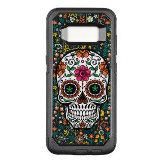 Capa OtterBox Commuter Para Samsung Galaxy S8 Crânio do açúcar & ilustração colorida das flores