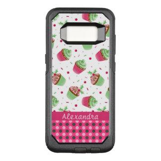 Capa OtterBox Commuter Para Samsung Galaxy S8 Cupcakes doces do Natal e nome cor-de-rosa dos
