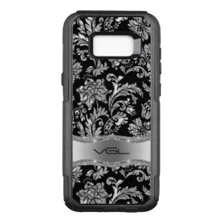 Capa OtterBox Commuter Para Samsung Galaxy S8+ Damasco floral de prata metálico preto G1