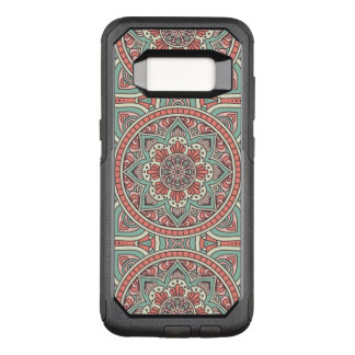 Capa OtterBox Commuter Para Samsung Galaxy S8 Design floral vermelho e verde da mandala