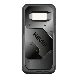 Capa OtterBox Commuter Para Samsung Galaxy S8 Design geométrico da textura metálica cinzenta