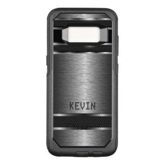 Capa OtterBox Commuter Para Samsung Galaxy S8 Design geométrico moderno metálico cinzento