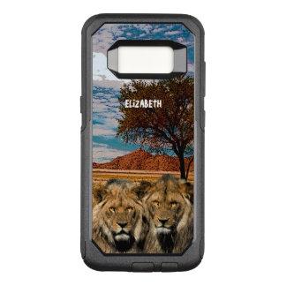 Capa OtterBox Commuter Para Samsung Galaxy S8 Dois leões selvagens no fundo africano do savana