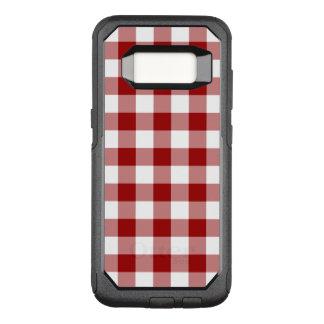 Capa OtterBox Commuter Para Samsung Galaxy S8 Escuro - teste padrão vermelho e branco do guingão