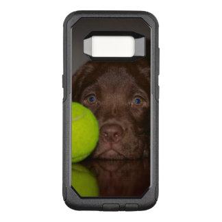 Capa OtterBox Commuter Para Samsung Galaxy S8 Filhote de cachorro de Labrador do chocolate com