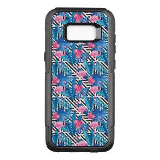 Capa OtterBox Commuter Para Samsung Galaxy S8+ Flamingo & palmas no teste padrão geométrico
